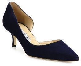 Manolo Blahnik Collina Suede d'Orsay Point Toe Pumps $695 thestylecure.com