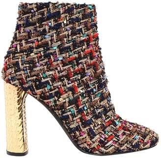 Casadei 100mm Metallic Heel & Bouclé Ankle Boots
