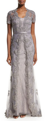 La Femme Short-Sleeve Embellished Tulle Overlay Gown, Silver $635 thestylecure.com