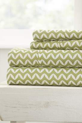 IENJOY HOME The Home Spun Premium Ultra Soft Puffed Chevron Pattern 4-Piece King Bed Sheet Set - Sage