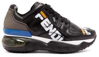 Fendi Mania Logo Print Leather Low Top Trainers - Womens - Black Multi