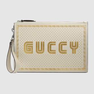 Gucci (グッチ) - GUCCY プリント レザー ポーチ