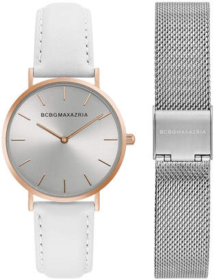 BCBGMAXAZRIA Ladies Watch Box Set with White Leather Strap and Silver Mesh Bracelet, 36MM