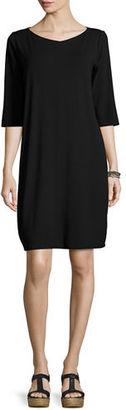Eileen Fisher 3/4-Sleeve V-Neck Jersey Shift Dress $178 thestylecure.com