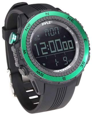Pyle Digital Multifunction Active Sports Watch with Altimeter, Barometer, Chronograph, Compass, Count-Down Timer, Measuring & Weather Forecast Modes (Green)