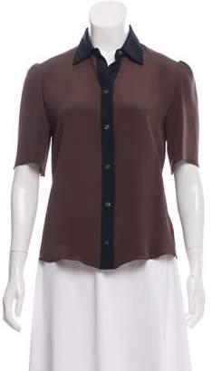 Derek Lam Bicolor Short Sleeve Button-Up