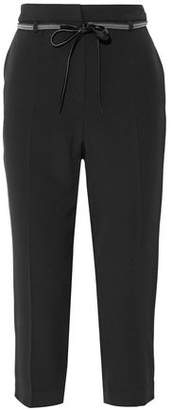 Brunello Cucinelli Belted Cropped Crepe Tapered Pants