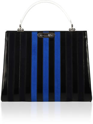 Bertoni1949 Spazzolato and Suede Stripes Doriana Top Handle
