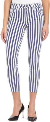 Mavi Jeans Tess Stripe Raw Hem Skinny Jeans