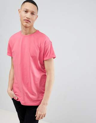 New Look T-Shirt With Roll Sleeve In Pink