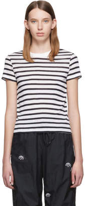 Alexander Wang White and Navy Striped Slub Shrunken T-Shirt