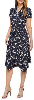 Perceptions Short Sleeve Dot Print Shirt Dress