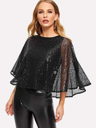Shein Keyhole Back Lace Overlay Sequin Blouse