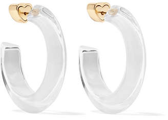 Alison Lou Small Jelly 14-karat Gold-plated, Enamel And Lucite Hoop Earrings - White