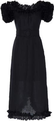 Gül Hürgel Ruffled Off-The-Shoulder Linen Dress Size: XS