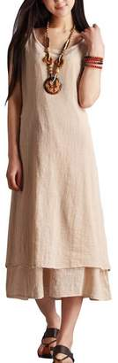 MOACC Women's Essential Solid Sleeveless Linen Midi Long Dress