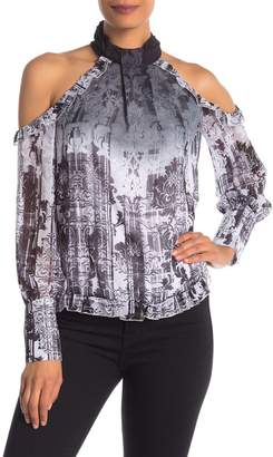 f5a25fd13b98c1 Bebe Printed Cold Shoulder Ruffle Blouse