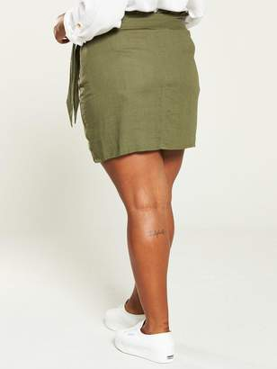 a6d7318068 V By Very Curve V by Very Curve Button Detail Linen Skirt - Khaki