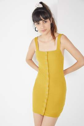Urban Outfitters Ribbed Knit Snap Button-Down Mini Dress
