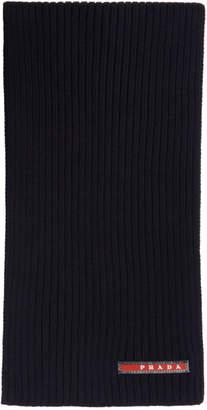Prada Navy Wool Logo Scarf