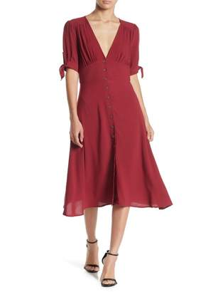 re:named apparel Shanti Tie Sleeve Midi Dress
