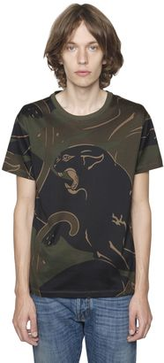 Panther & Camo Cotton Jersey T-Shirt $650 thestylecure.com