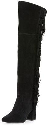 Frye Jodi Fringe Suede Over-The-Knee Boot, Black $598 thestylecure.com