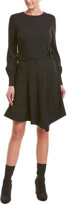 Derek Lam 10 Crosby Belted Wool-Blend A-Line Dress