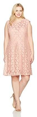 Gabby Skye Women's Plus Size Cap Sleeve Round Neck Lace Fit & Flare Dress