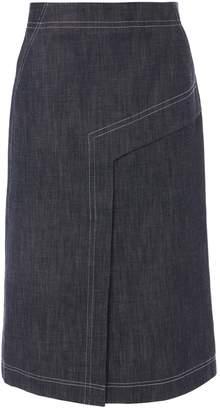 Tibi Raw Denim Draped Skirt
