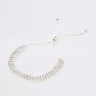 River Island Silver rhinestone encrusted lariat bracelet
