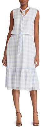 Ralph Lauren Gingham Tie-Neck Dress