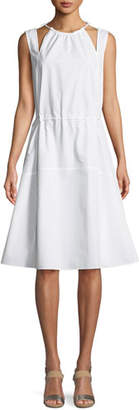Derek Lam Sleeveless Halter Cotton Cami Dress w/ Seamed Skirt