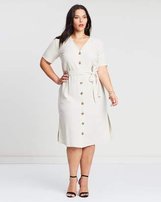 ICONIC EXCLUSIVE - Jasmin Button Front Linen Dress
