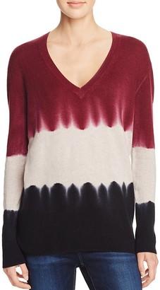 AQUA Cashmere Tie Dye V-Neck Cashmere Sweater $198 thestylecure.com