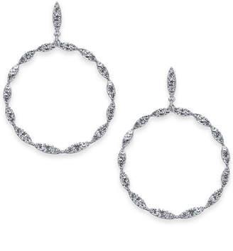 "INC International Concepts I.N.C. Large 2"" Silver-Tone Crystal Drop Hoop Earrings, Created for Macy's"