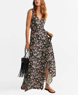 MANGO Embossed Flower Dress