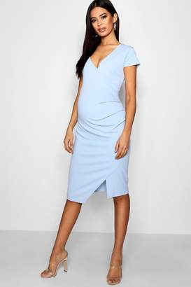 boohoo Maternity Cap Sleeve Wrap Midi Dress