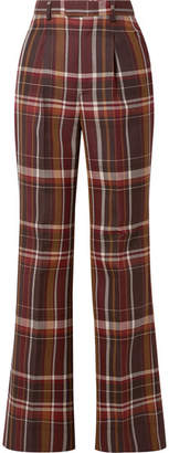 Acne Studios Checked Wool And Silk-blend Flared Pants - Brown