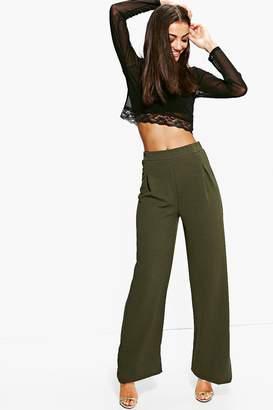 boohoo Tall Emma Wide Leg Pleat Front Trouser