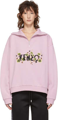 Kenzo Pink Zippered High Collar Sweatshirt