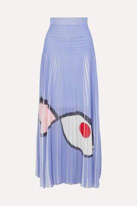 Akris Frayed Printed Plissé-organza Maxi Skirt - Lilac