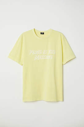 H&M T-shirt with Printed Text - Yellow