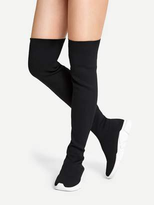SheinShein Over The Knee Knit Sneaker Boots