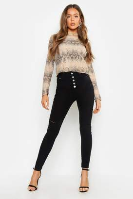 boohoo Fly Button High Waisted Skinny Jean