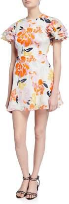 La Maison Talulah Effervescent Floral Tiered-Sleeve Fit-&-Flare Mini Dress