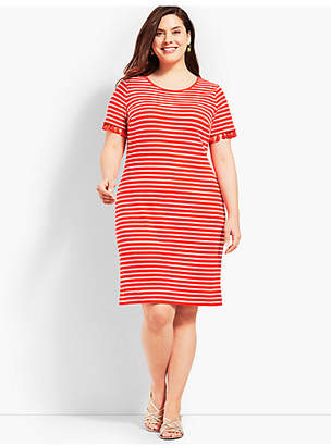 Talbots Tassel Trim Striped Shift Dress