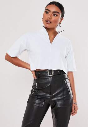 Missguided White Zip High Neck Boxy Crop Top