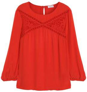 Claudie Pierlot Lace-trimmed Crepe Blouse