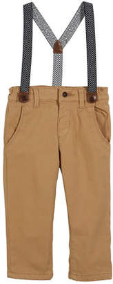 Mayoral Chino Pants w/ Zigzag Suspenders, Size 6-36 Months